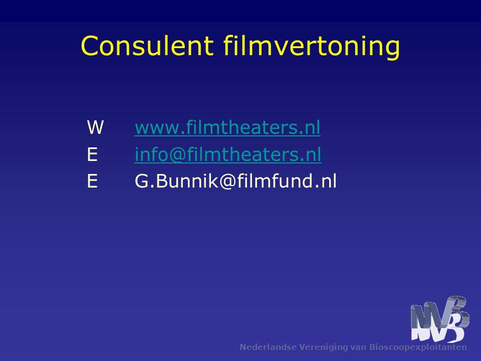 Nederlandse Vereniging van Bioscoopexploitanten Consulent filmvertoning Wwww.filmtheaters.nlwww.filmtheaters.nl Einfo@filmtheaters.nlinfo@filmtheaters