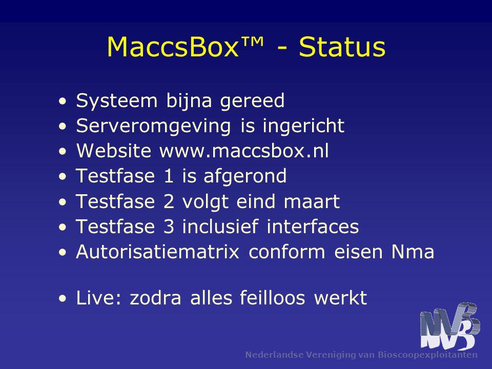 Nederlandse Vereniging van Bioscoopexploitanten MaccsBox™ - Status •Systeem bijna gereed •Serveromgeving is ingericht •Website www.maccsbox.nl •Testfa