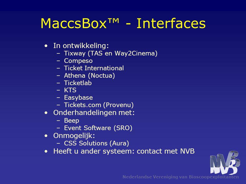 Nederlandse Vereniging van Bioscoopexploitanten •In ontwikkeling: –Tixway (TAS en Way2Cinema) –Compeso –Ticket International –Athena (Noctua) –Ticketl