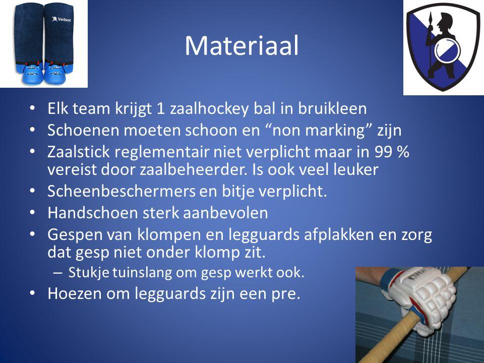 Materiaal • Elk team krijgt 1 zaalhockey bal in bruikleen • Schoenen moeten schoon en non marking zijn • Zaalstick reglementair niet verplicht maar in 99 % vereist door zaalbeheerder.