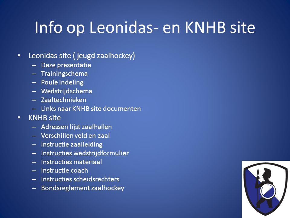 Info op Leonidas- en KNHB site • Leonidas site ( jeugd zaalhockey) – Deze presentatie – Trainingschema – Poule indeling – Wedstrijdschema – Zaaltechni