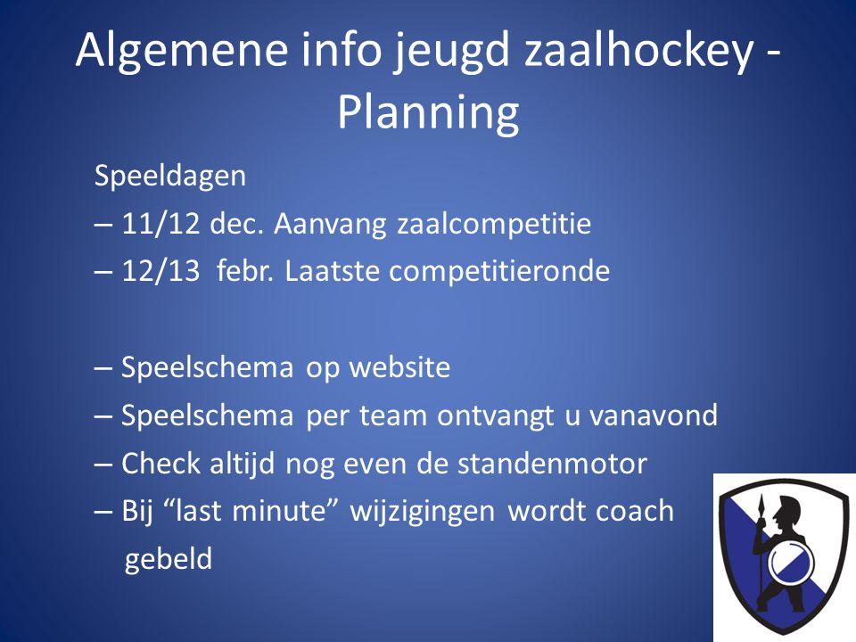 Algemene info jeugd zaalhockey - Planning Speeldagen – 11/12 dec. Aanvang zaalcompetitie – 12/13 febr. Laatste competitieronde – Speelschema op websit