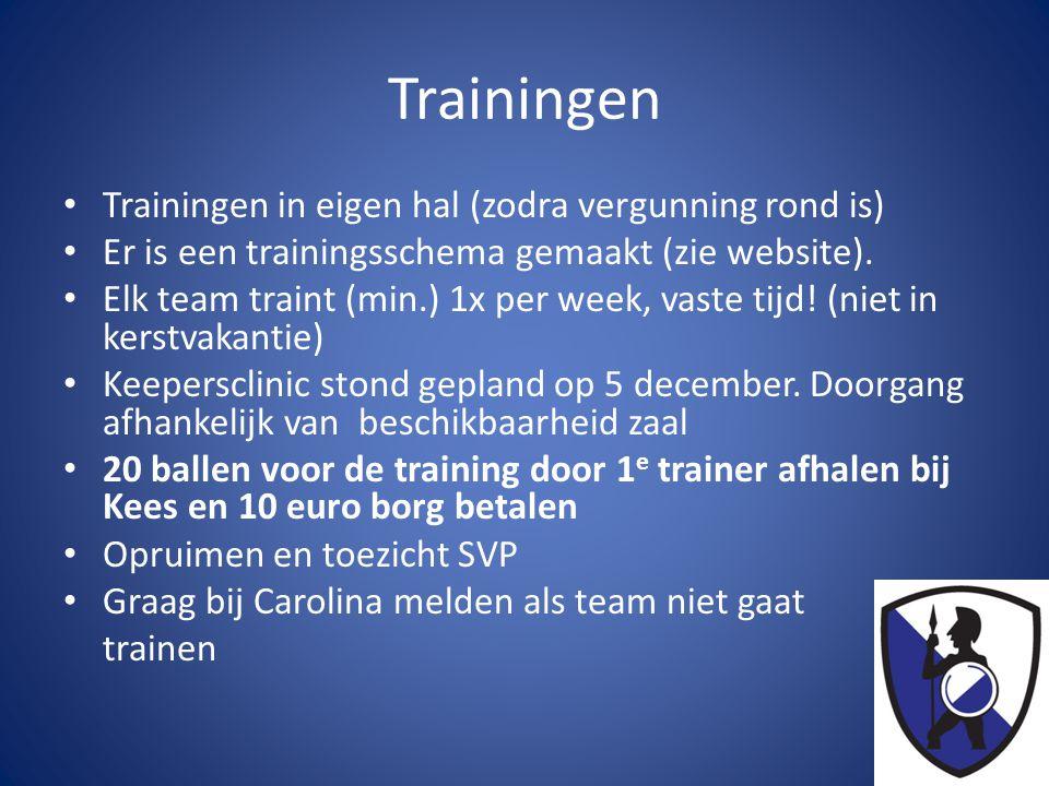 Trainingen • Trainingen in eigen hal (zodra vergunning rond is) • Er is een trainingsschema gemaakt (zie website).