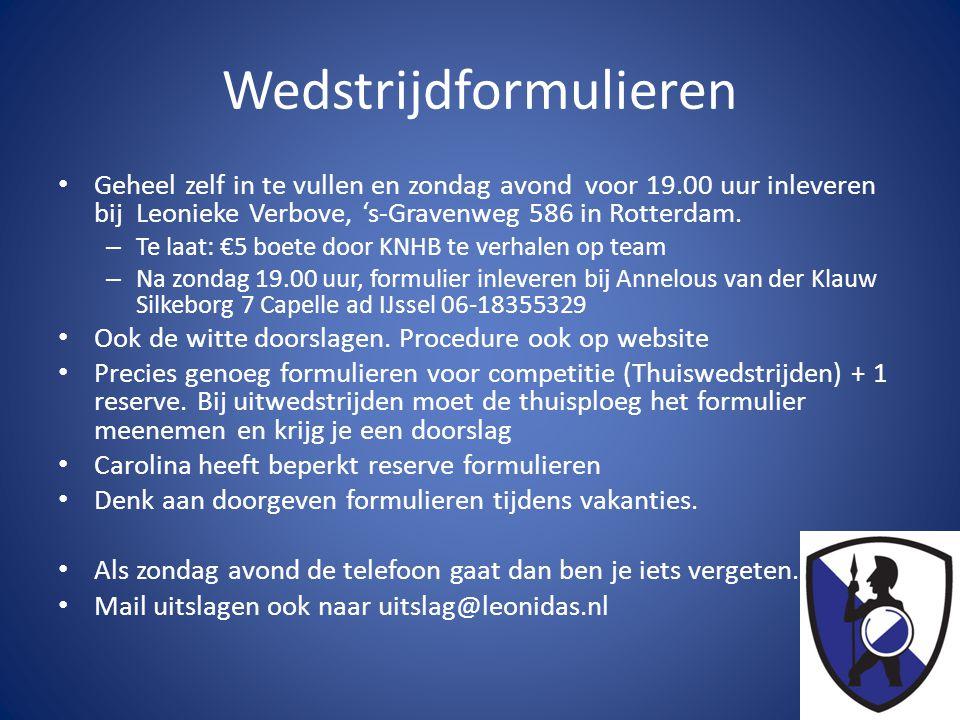 Wedstrijdformulieren • Geheel zelf in te vullen en zondag avond voor 19.00 uur inleveren bij Leonieke Verbove, 's-Gravenweg 586 in Rotterdam.