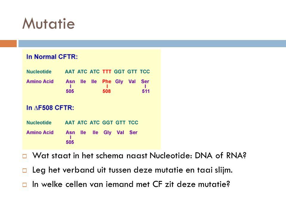 Mutatie  Wat staat in het schema naast Nucleotide: DNA of RNA.