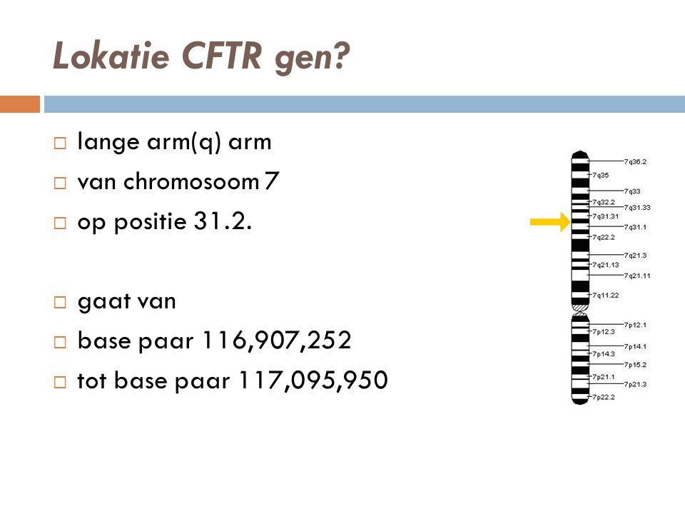 Lokatie CFTR gen. lange arm(q) arm  van chromosoom 7  op positie 31.2.