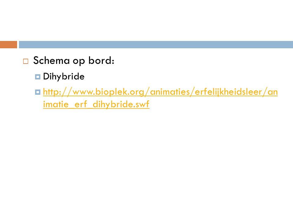  Schema op bord:  Dihybride  http://www.bioplek.org/animaties/erfelijkheidsleer/an imatie_erf_dihybride.swf http://www.bioplek.org/animaties/erfelijkheidsleer/an imatie_erf_dihybride.swf