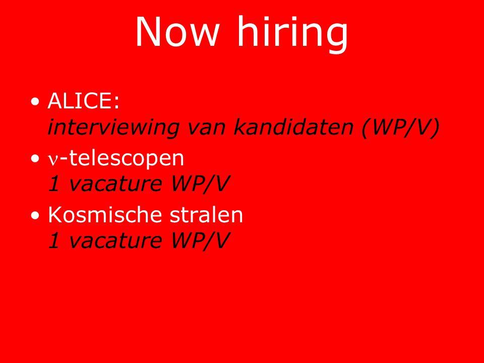 Now hiring •ALICE: interviewing van kandidaten (WP/V) •-telescopen 1 vacature WP/V •Kosmische stralen 1 vacature WP/V