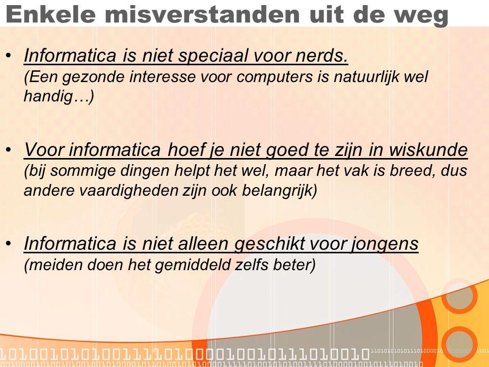 Meer informatie •Websites: •www.stedgymdenbosch.nl -> Vakken -> Informaticawww.stedgymdenbosch.nl •www.informaticavo.nlwww.informaticavo.nl •E-mail: •Jochum van Weert: wt@stedgymdenbosch.nl •Of loop gewoon eens binnen in lokaal 207!