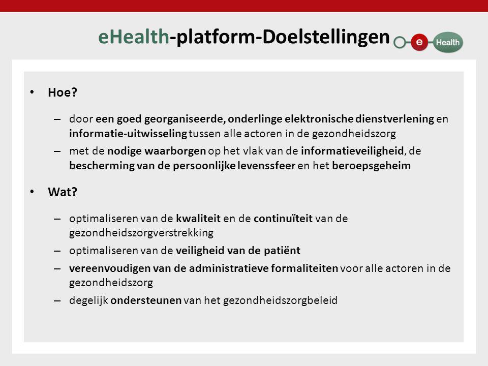 eHealth-platform – Regelgeving • Verhoging van de rechtszekerheid bij gebruik van het eHealth-platform – basisdiensten ter ondersteuning van informatieveiligheid en bescherming van de persoonlijke levenssfeer zoals • gebruikers- en toegangsbeheer • end-to-end vercijfering • logging zijn conform wettelijke vereisten terzake – basisdiensten ter ondersteuning van de bewijskracht zoals • time stamping • ontvangstmeldingen zijn conform wettelijke vereisten terzake – bij deze basisdiensten gebruikte gevalideerde authentieke bronnen zoals • gegevensbank met hoedanigheid van zorgverstrekker • gegevensbanken met therapeutische relaties zijn betrouwbaar