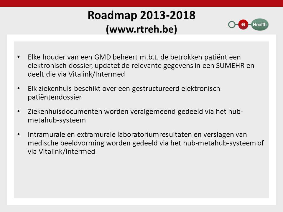Roadmap 2013-2018 (www.rtreh.be) • Elke houder van een GMD beheert m.b.t.