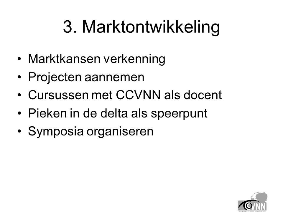 3. Marktontwikkeling •Marktkansen verkenning •Projecten aannemen •Cursussen met CCVNN als docent •Pieken in de delta als speerpunt •Symposia organiser