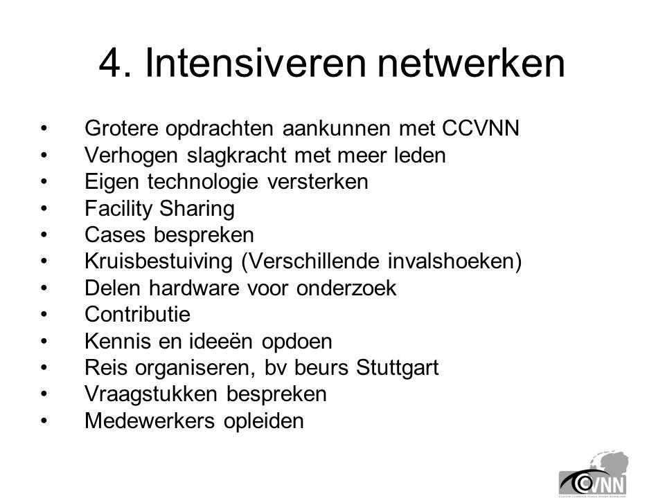 4. Intensiveren netwerken •Grotere opdrachten aankunnen met CCVNN •Verhogen slagkracht met meer leden •Eigen technologie versterken •Facility Sharing