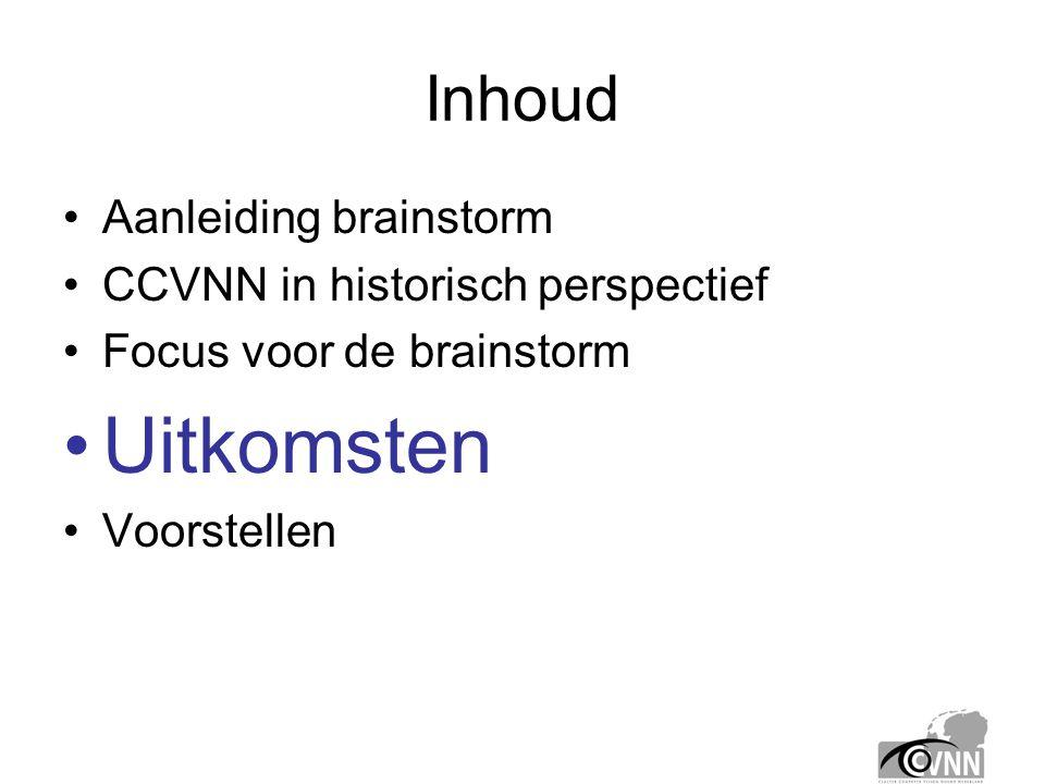 Inhoud •Aanleiding brainstorm •CCVNN in historisch perspectief •Focus voor de brainstorm •Uitkomsten •Voorstellen