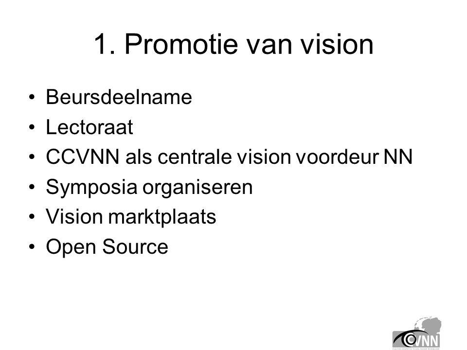 1. Promotie van vision •Beursdeelname •Lectoraat •CCVNN als centrale vision voordeur NN •Symposia organiseren •Vision marktplaats •Open Source