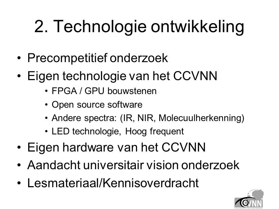 2. Technologie ontwikkeling •Precompetitief onderzoek •Eigen technologie van het CCVNN •FPGA / GPU bouwstenen •Open source software •Andere spectra: (
