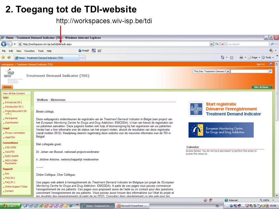 2. Toegang tot de TDI-website