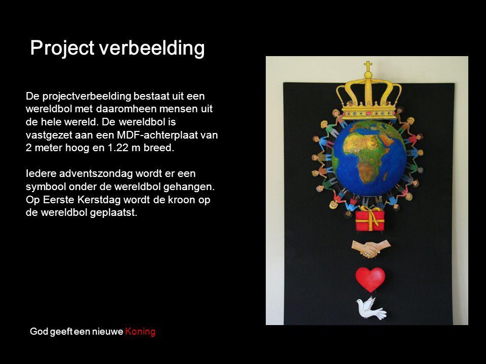 Project verbeelding God geeft een nieuwe Koning De projectverbeelding bestaat uit een wereldbol met daaromheen mensen uit de hele wereld. De wereldbol