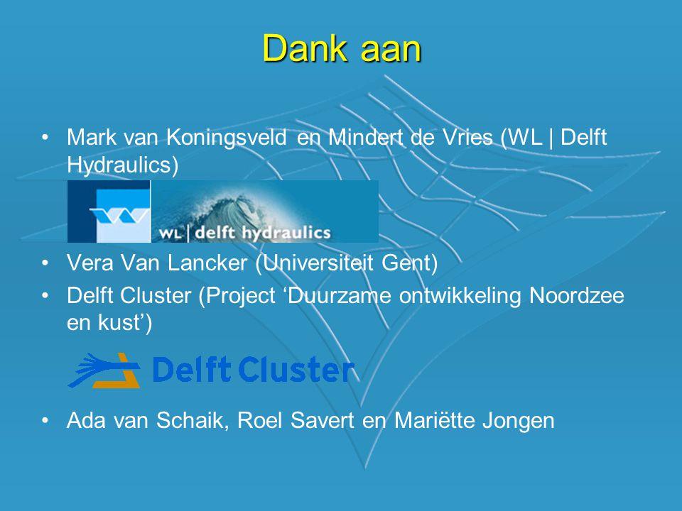 •Mark van Koningsveld en Mindert de Vries (WL | Delft Hydraulics) •Vera Van Lancker (Universiteit Gent) •Delft Cluster (Project 'Duurzame ontwikkeling Noordzee en kust') •Ada van Schaik, Roel Savert en Mariëtte Jongen Dank aan