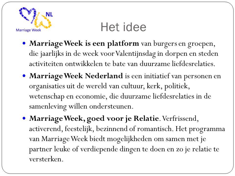 Het idee  Marriage Week is een platform van burgers en groepen, die jaarlijks in de week voor Valentijnsdag in dorpen en steden activiteiten ontwikkelen te bate van duurzame liefdesrelaties.