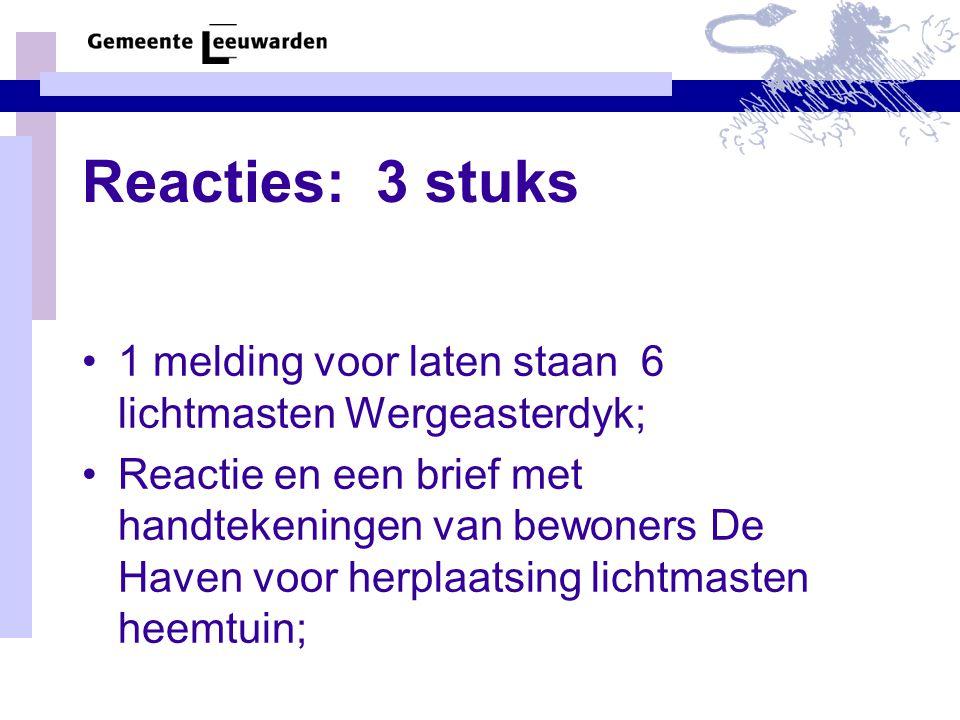 Reacties: 3 stuks •1 melding voor laten staan 6 lichtmasten Wergeasterdyk; •Reactie en een brief met handtekeningen van bewoners De Haven voor herplaatsing lichtmasten heemtuin;