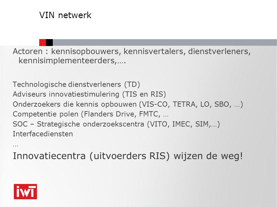 VIN netwerk Actoren : kennisopbouwers, kennisvertalers, dienstverleners, kennisimplementeerders,…. Technologische dienstverleners (TD) Adviseurs innov