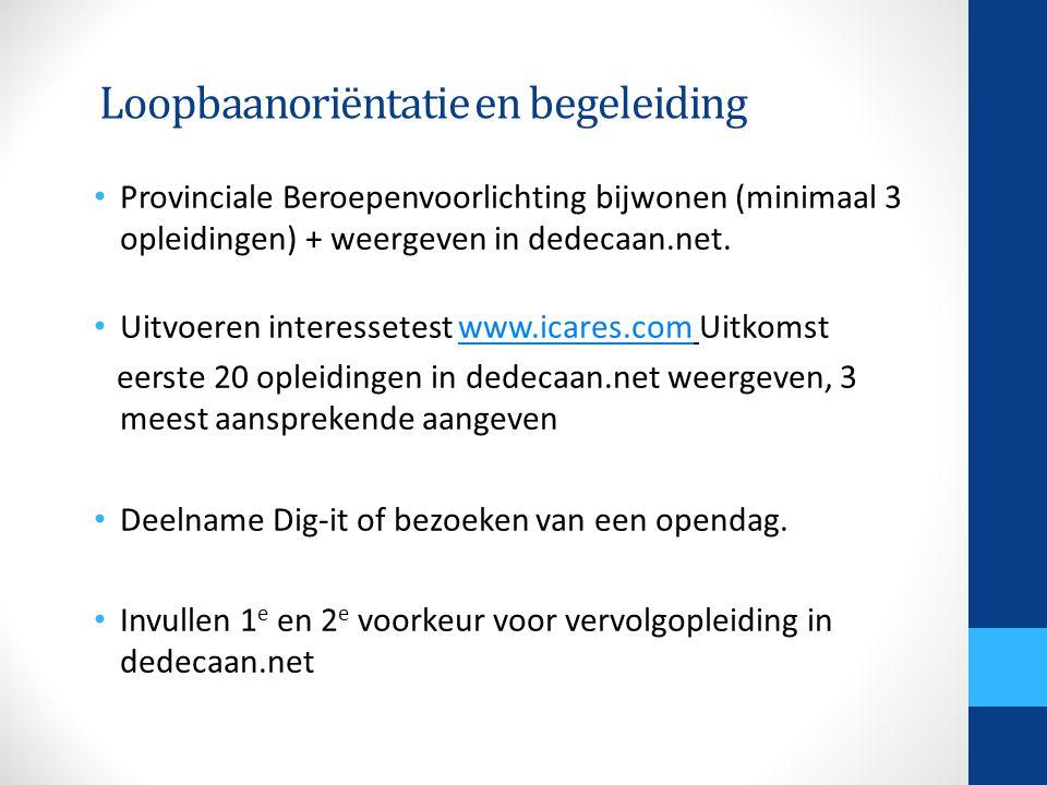 Loopbaanoriëntatie en begeleiding • Provinciale Beroepenvoorlichting bijwonen (minimaal 3 opleidingen) + weergeven in dedecaan.net.