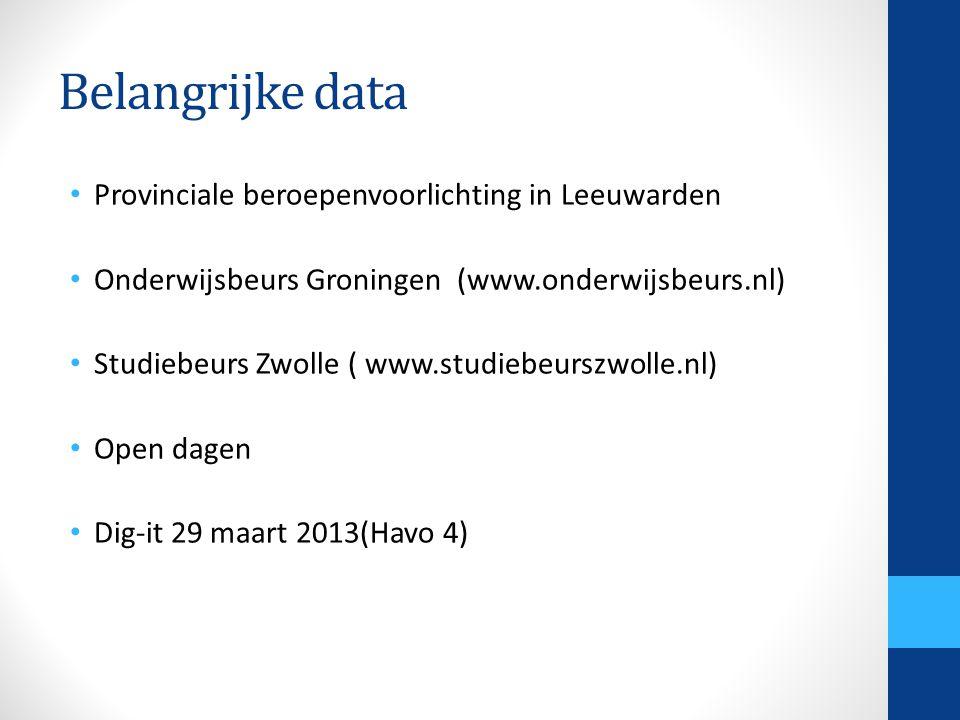 Belangrijke data • Provinciale beroepenvoorlichting in Leeuwarden • Onderwijsbeurs Groningen (www.onderwijsbeurs.nl) • Studiebeurs Zwolle ( www.studiebeurszwolle.nl) • Open dagen • Dig-it 29 maart 2013(Havo 4)