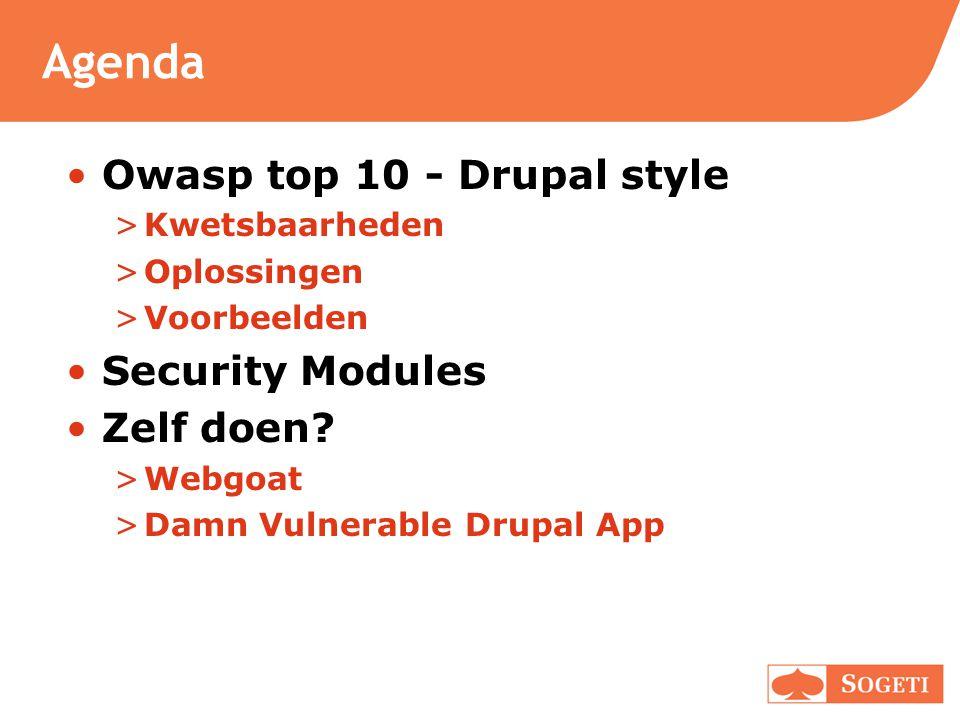 Agenda •Owasp top 10 - Drupal style >Kwetsbaarheden >Oplossingen >Voorbeelden •Security Modules •Zelf doen? >Webgoat >Damn Vulnerable Drupal App