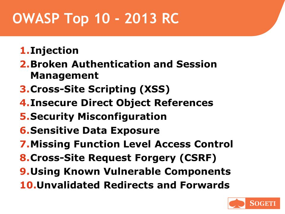 OWASP Top 10 - 2013 RC 1.Injection 2.Broken Authentication and Session Management 3.Cross-Site Scripting (XSS) 4.Insecure Direct Object References 5.Security Misconfiguration 6.Sensitive Data Exposure 7.Missing Function Level Access Control 8.Cross-Site Request Forgery (CSRF) 9.Using Known Vulnerable Components 10.Unvalidated Redirects and Forwards