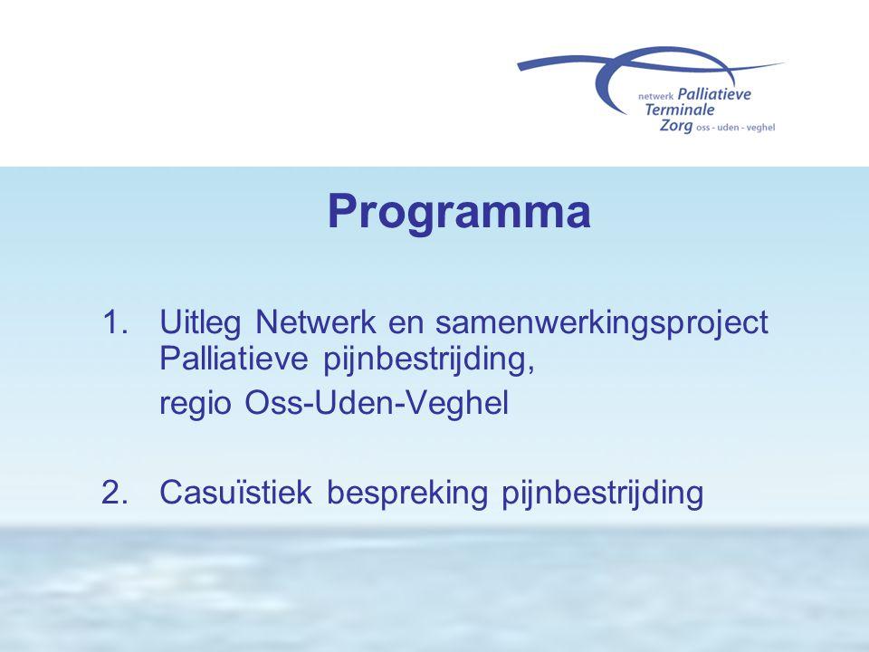 Programma 1. Uitleg Netwerk en samenwerkingsproject Palliatieve pijnbestrijding, regio Oss-Uden-Veghel 2. Casuïstiek bespreking pijnbestrijding