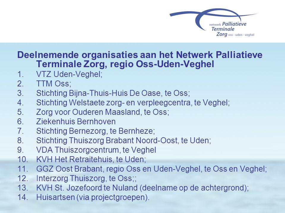 Deelnemende organisaties aan het Netwerk Palliatieve Terminale Zorg, regio Oss-Uden-Veghel 1.VTZ Uden-Veghel; 2.TTM Oss; 3.Stichting Bijna-Thuis-Huis