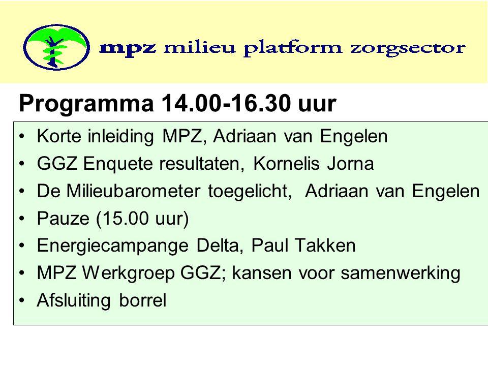 Programma 14.00-16.30 uur •Korte inleiding MPZ, Adriaan van Engelen •GGZ Enquete resultaten, Kornelis Jorna •De Milieubarometer toegelicht, Adriaan va