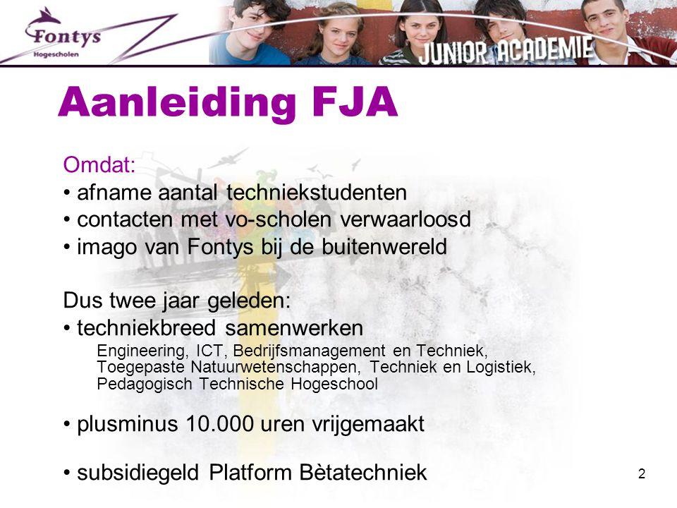 Aanleiding FJA Omdat: • afname aantal techniekstudenten • contacten met vo-scholen verwaarloosd • imago van Fontys bij de buitenwereld Dus twee jaar g