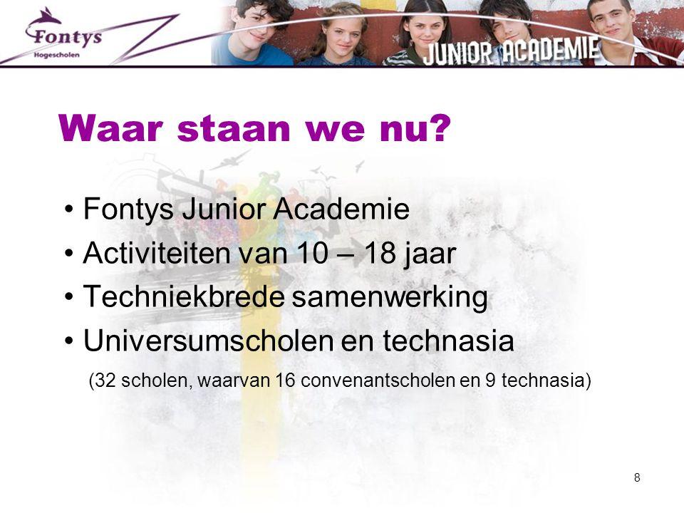 Waar staan we nu? • Fontys Junior Academie • Activiteiten van 10 – 18 jaar • Techniekbrede samenwerking • Universumscholen en technasia (32 scholen, w