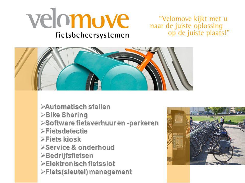  Automatisch stallen  Bike Sharing  Software fietsverhuur en -parkeren  Fietsdetectie  Fiets kiosk  Service & onderhoud  Bedrijfsfietsen  Elektronisch fietsslot  Fiets(sleutel) management