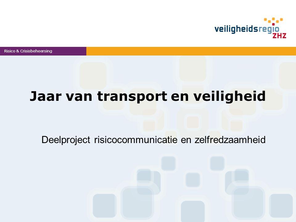 Projectteam Deelnemers uit de 4 VR's te weten: Monique van der Harg (ZHZ): projectleider Elise Bergsma (Rijnmond) Eric Seugling (Hollands Midden) Vacature (Haaglanden) De projectgroep wordt begeleid door een werkgroep, bestaande uit deskundigen op het werkgebied communicatie en transport& veiligheid.