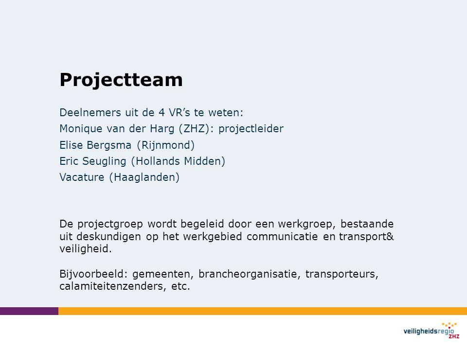 Projectteam Deelnemers uit de 4 VR's te weten: Monique van der Harg (ZHZ): projectleider Elise Bergsma (Rijnmond) Eric Seugling (Hollands Midden) Vaca