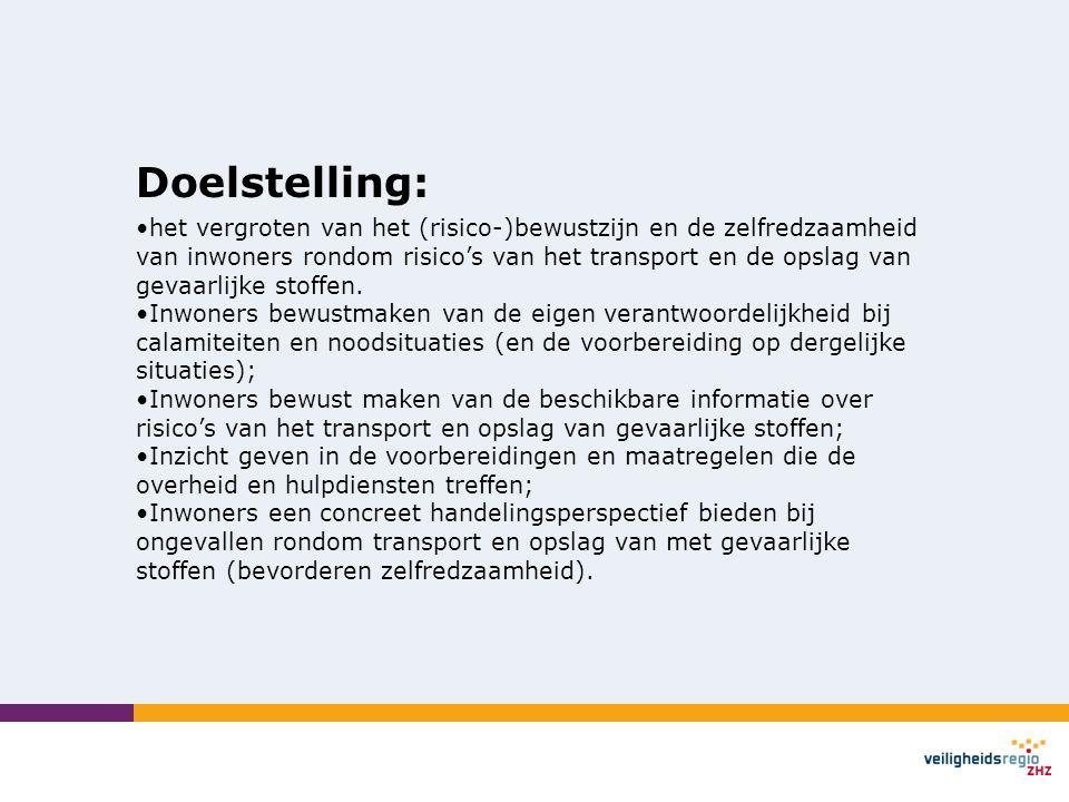 Doelstelling: •het vergroten van het (risico-)bewustzijn en de zelfredzaamheid van inwoners rondom risico's van het transport en de opslag van gevaarl