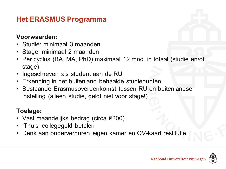 Het ERASMUS Programma Voorwaarden: •Studie: minimaal 3 maanden •Stage: minimaal 2 maanden •Per cyclus (BA, MA, PhD) maximaal 12 mnd. in totaal (studie