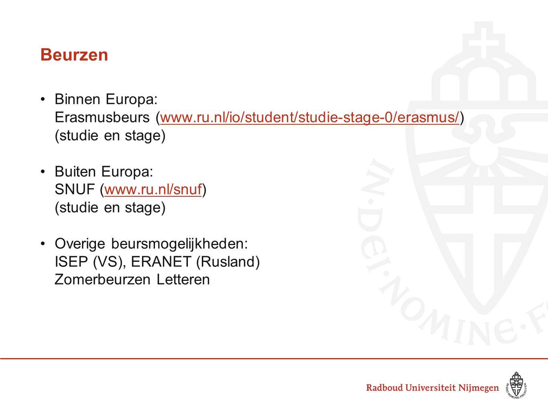 Beurzen •Binnen Europa: Erasmusbeurs (www.ru.nl/io/student/studie-stage-0/erasmus/)www.ru.nl/io/student/studie-stage-0/erasmus/ (studie en stage) •Bui