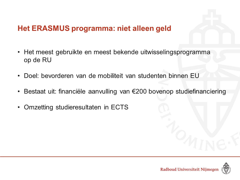 Het ERASMUS Programma Voorwaarden: •Studie: minimaal 3 maanden •Stage: minimaal 2 maanden •Per cyclus (BA, MA, PhD) maximaal 12 mnd.