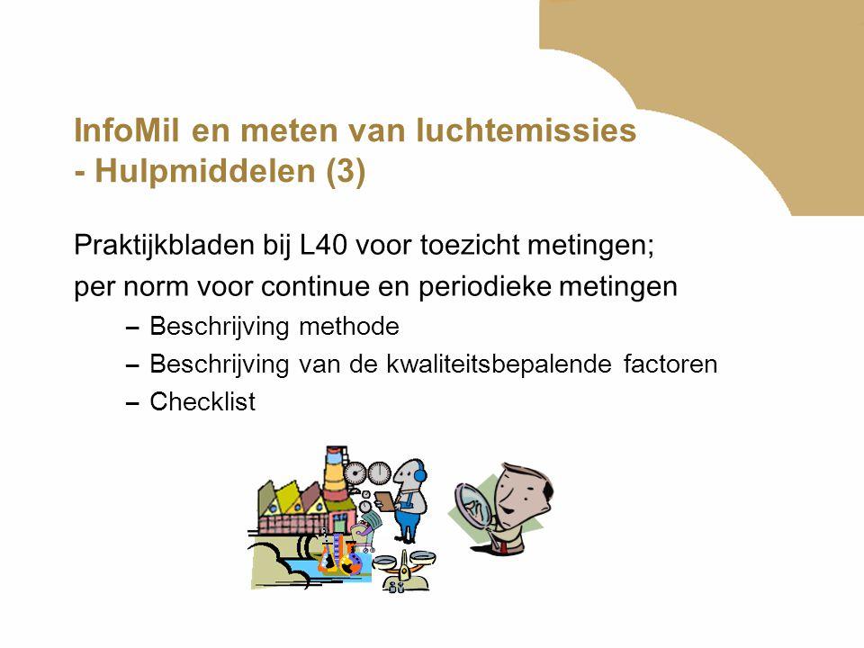 InfoMil en meten van luchtemissies - Hulpmiddelen (3) Praktijkbladen bij L40 voor toezicht metingen; per norm voor continue en periodieke metingen –Be