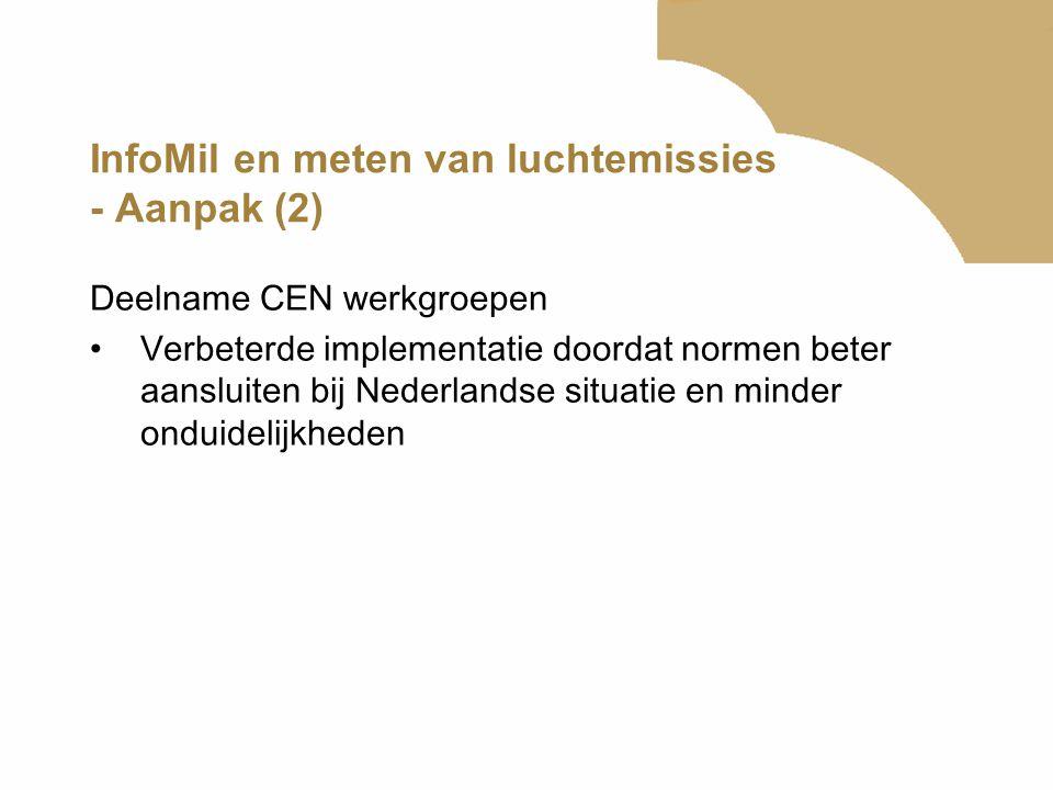 InfoMil en meten van luchtemissies - Aanpak (2) Deelname CEN werkgroepen •Verbeterde implementatie doordat normen beter aansluiten bij Nederlandse sit