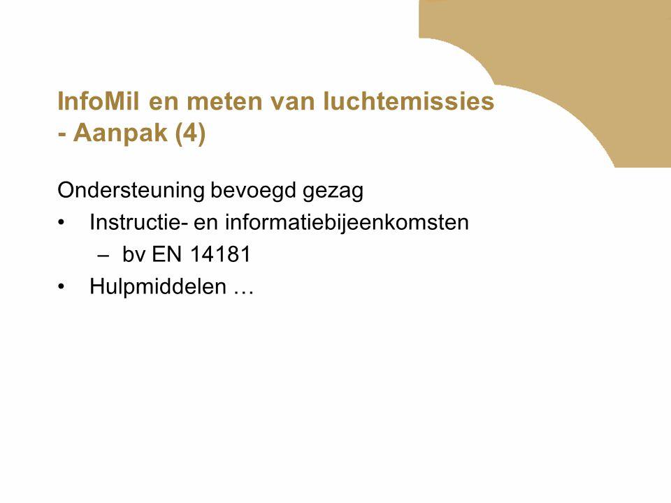 InfoMil en meten van luchtemissies - Hulpmiddelen (1) Digitale tool voor vergunningvoorschriften •Bepalen emissiegrenswaarde en controleregime conform de Nederlandse emissie Richtlijn (NeR) –Informatie in de aanvraag –Emissieconcentratie en debiet –Reinigingstechiek •Vergunningvoorschriften controleren emissies –Koppeling met m eetnormenoverzicht en factsheets luchtemissiebeperkende technieken