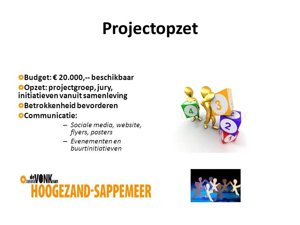 Projectopzet Budget: € 20.000,-- beschikbaar Opzet: projectgroep, jury, initiatieven vanuit samenleving Betrokkenheid bevorderen Communicatie: – Sociale media, website, flyers, posters – Evenementen en buurtinitiatieven