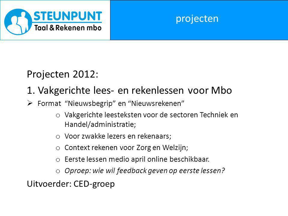 projecten Projecten 2012: 1.