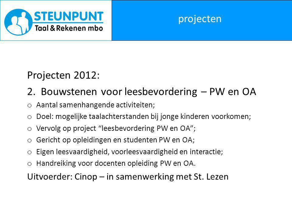 projecten Projecten 2012: 3.Begeleiding dyslectische en dyscalculische deelnemers mbo.