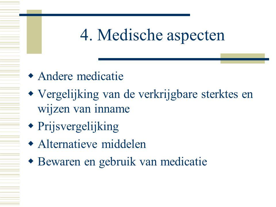 4. Medische aspecten  Andere medicatie  Vergelijking van de verkrijgbare sterktes en wijzen van inname  Prijsvergelijking  Alternatieve middelen 