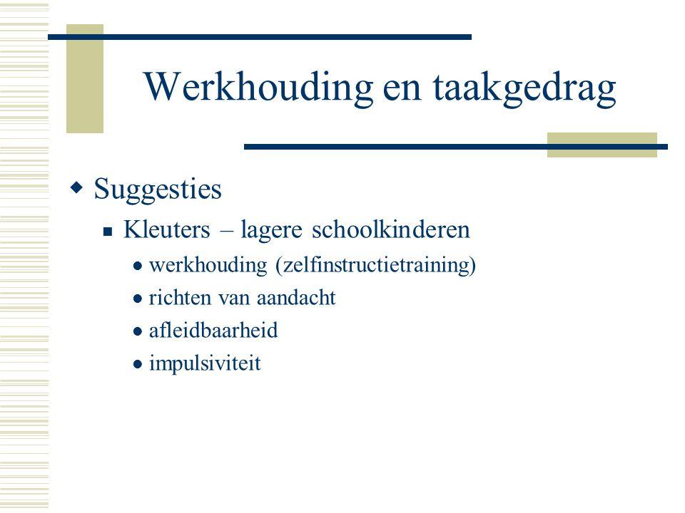 Werkhouding en taakgedrag  Suggesties  Kleuters – lagere schoolkinderen  werkhouding (zelfinstructietraining)  richten van aandacht  afleidbaarhe